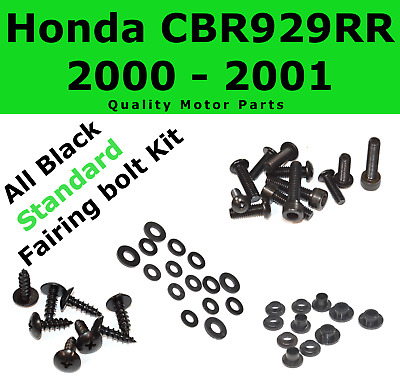 Black Fairing Bolt Kit body screws fasteners for Honda CBR 929 RR 2000 - 2001