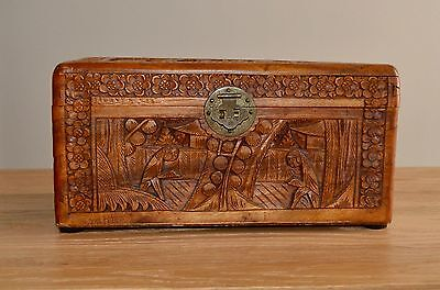 Antique Chinese? Hand Carved Wood Trunk Asian Box Trinket Chest