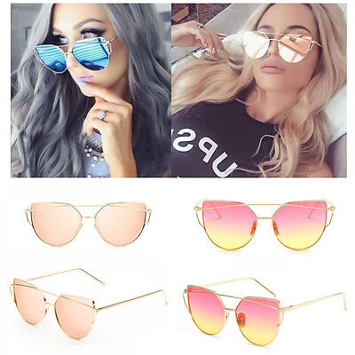 Womens Fashion Oversized Quality Metal Frame Mirror Lens Cat eye Sunglasses