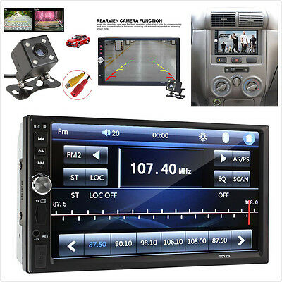 """7"""" 2DIN FM Bluetooth GPS Touch Screen Stereo Radio Video Car MP5 Player + Camera"""