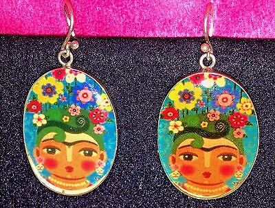 Taxco Mexico Sterling Silver .925!! Frida Kahlo Statement Earrings Mexico