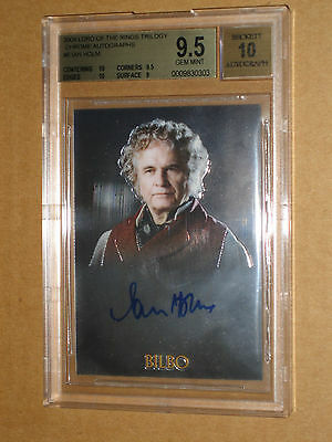 ✨ BGS 9.5 2004 LORD OF THE RINGS CHROME IAN HOLM BILBO AUTO autograph LOTR MOVIE