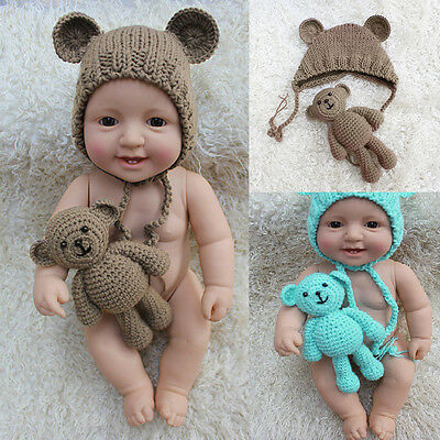 Newborn Baby Bear + Hat Set Girl Boy Photography Prop Photo Crochet Knit Costume