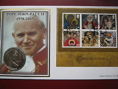 Tristan Da Cunha 1978 - 2005 Crown Coin Pope John Paul II stamps Benham Cover