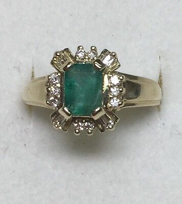 2 ct natural (REAL) DIAMOND & EMERALD cluster ring SOLID 14k yellow GOLD
