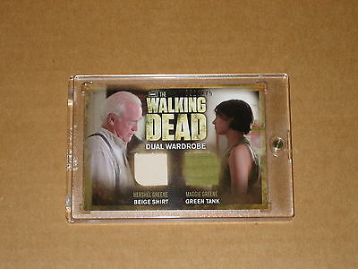 $$ MAGGIE HERSHEL WALKING DEAD DUAL COSTUME WARDROBE RELIC DM02 SDCC variant 1 2