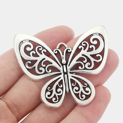 5 Large Antique Silver Tone Butterfly Charms Pendants 58mm For Jewellery Making