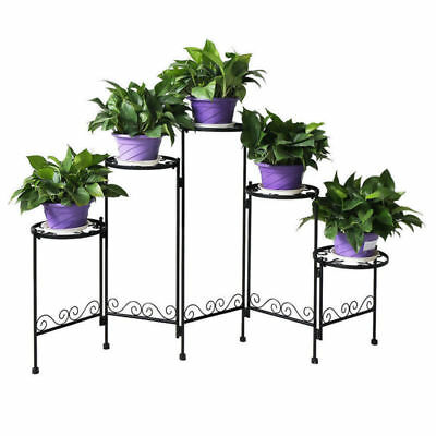 5 Tiers Folding Metal Plant Stand Flower Pot Display Shelf Stand Home Garden