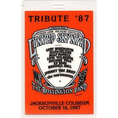 Lynyrd Skynyrd authentic 1987 Laminated Backstage Pass Tribute Tour Jacksonville