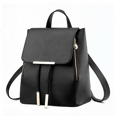US Women Lady Leather Travel Satchel Shoulder Backpack School Rucksack Bag Black