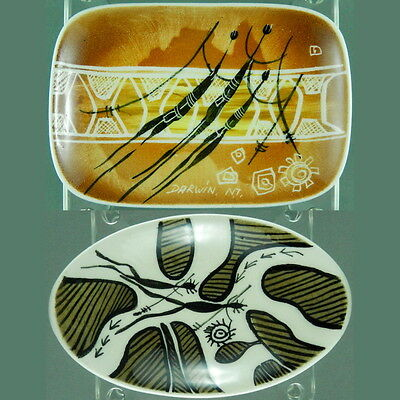 Studio Anna 60s Two Hand Painted Pin Dishes Aboriginal Australian Pottery
