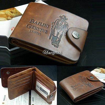 New retro Men Boy Classic Leather Pockets Credit/ID Cards Holder Purse Wallet##
