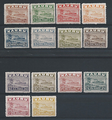 Nauru 1924-48 Set Of Fourteen Mm Sg 26B/39B Cat £200