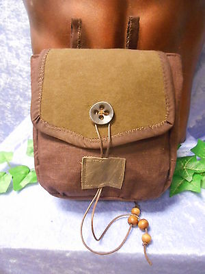 Medieval style belt pouch in brown linen - cosplay/LARP/ fairy/theatre