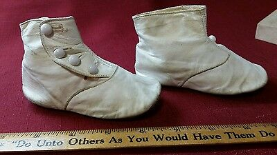 Baby Shoes Antique White Leather High Top Four Buttons Original Box Nice