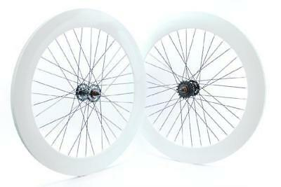 Pair single speed wheels rim height 70 mm white RIDEWILL BIKE Bicycle