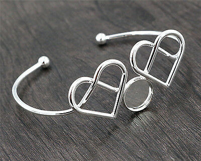 Silver Plated Heart Bangle with 12mm Cabochon Setting | 2pcs