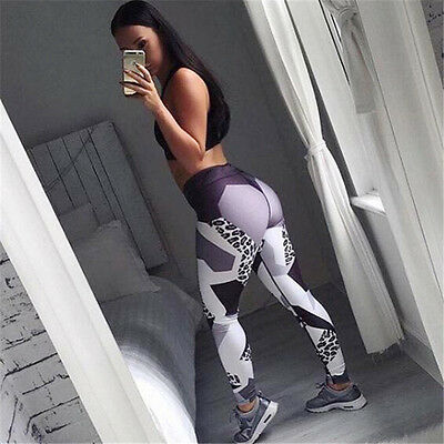 Womens Leopard Yoga Workout Gym Leggings Fitness Sports Trouser Athletic Pants
