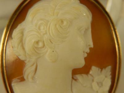 14k CAMEO PIN or PENDANT Lady With EARRINGS & CORSAGE Art Nouveau ANTIQUE Shell