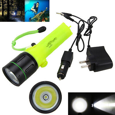 5000LM XM-L T6 LED Scuba Diving Flashlight Fishing Torch Light Waterproof 60m