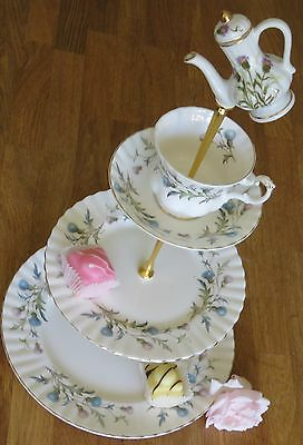 Royal Albert Brigadoon 3 tiered cake stand teacup topper teapot handle Thistle