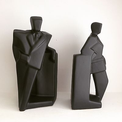 Vintage Pair Of 1980's Art Deco Style Black Suited & Booted Men Bookends.