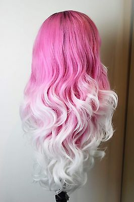Love Is Indi Hair Lace Front Wig Rooted Strawberries And Cream Pink To White