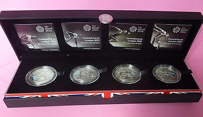 Countdown To London 2012 £5 4 Coin Silver Proof Set