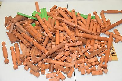 Huge Lot of 226 Vintage Original Wood Lincoln Logs Mixed Pieces Green Roof Slats