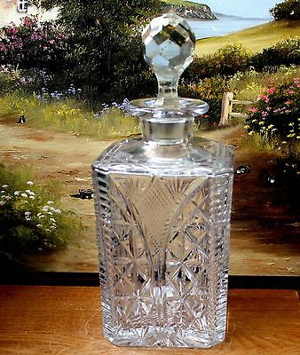 Super ~ Lead Crystal Glass Large Square Decanter