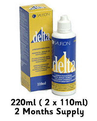 Sauflon Delta Plus Disinfecting, Soaking + Wetting Solution 220ml gas permeable.