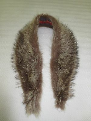 """Quilt Lined RACCOON(?) FUR COLLAR - 36"""" Point-to-Point x 3 1/2"""" Wide at Center"""