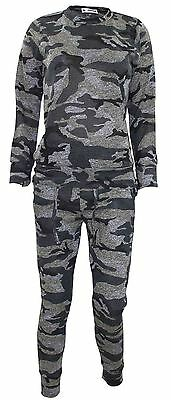 New Ladies Camouflage Womens Track Suit Knitted Jogging Bottom Sweatshirt Top