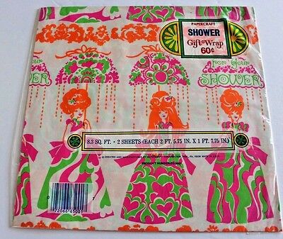 Vtg wedding Shower Gift Wrap 2 Sheets Paper Wrapping 70's scrapbook planner NEW