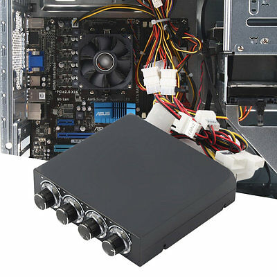 3.5inch PC HDD CPU 4 Channel Fan Speed Controller Led Cooling Front Panel N#Q