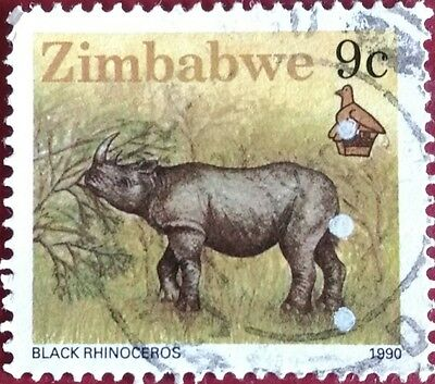118.zimbabwe 1990 (9C) Used Stamp Animals, Black Rhinocerous