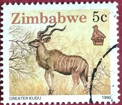 118.zimbabwe 1990 (5C) Used Stamp Animals, Greater Kudu