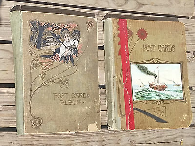 2 Antique Postcard Albums w/119 1910's & Earlier Holiday & Greetings Postcards