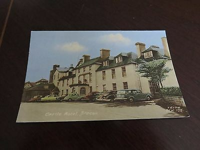 Postcard Castle Hotel Brecon Wales 1966 Frith Bcn 135 Old Cars
