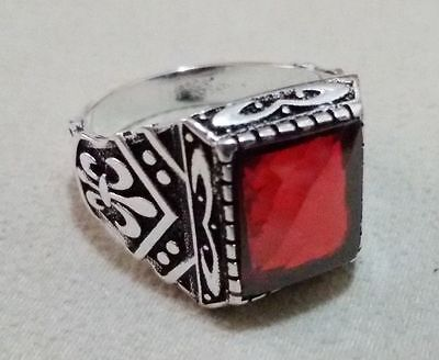 Turkish 925 Sterling Silver Men's Ring with Stone  Size 10.75   #352