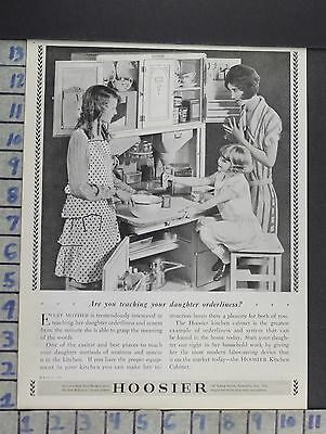 1928 Hoosier Kitchen Cabinet Wife Family House Home Decor Vintage Art Ad  Cn39