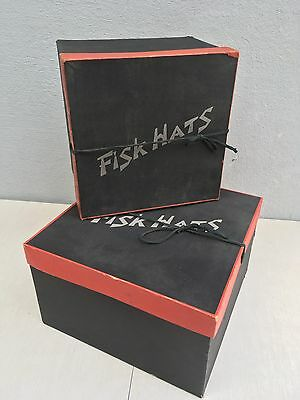 PAIR Vintage 1930's Art Deco FISK DEPARTMENT STORE HAT BOX Set Stackable