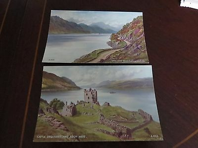 Postcard  X 2 Valentines Art Colour Loch Ness And Castle Urquhart Art Signed