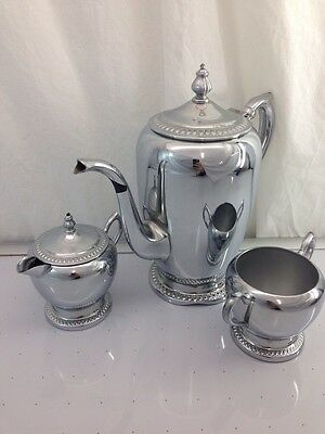 Vintage PERMA BRITE CHROME Tea/ Coffe Set by National Silver Company