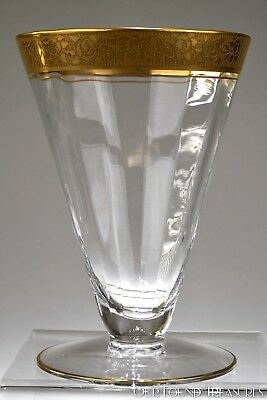 1930's # 188 OPTIC Tiffin CRYSTAL Gold Encrusted RAMBLER ROSE 9oz Footed Tumbler