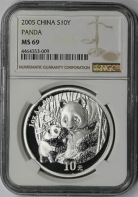 2005 China Panda Silver 10 Yuan 10Y MS 69 NGC 1 oz .999 Silver
