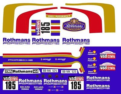 #185 Rothmans Porsche 1/43rd Scale Slot Car Decals