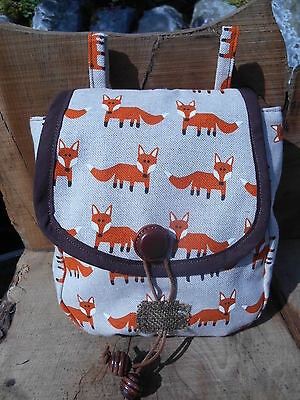 Fox print fabric belt pouch - Linen & cotton -  LARP/ fairy/cosplay