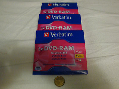 VERBATIM DVD-RAM DOUBLE-SIDED DISC, 9.4 GB (3-PACK)    Free Shipping to USA