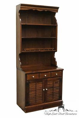 ETHAN ALLEN Antiqued Pine Old Tavern CRP 32″ Shutter Door Cabinet w/ Bookcase